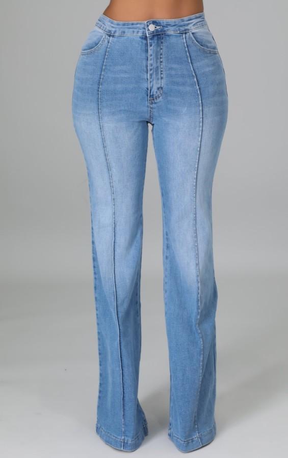 Herbst Hellblaue Patchwork High Wasit Jeans