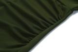 Herbst Elegantes Grünes Langarm Rüschendes Professionelles Midikleid