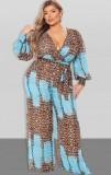 Herbst Plus Size Leopard Print Puff Sleeve Wrap Loose Jumpsuit mit Gürtel