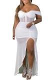 Herbst Plus Size Weiß Schulterfreies Split Unregelmäßiges Abendkleid