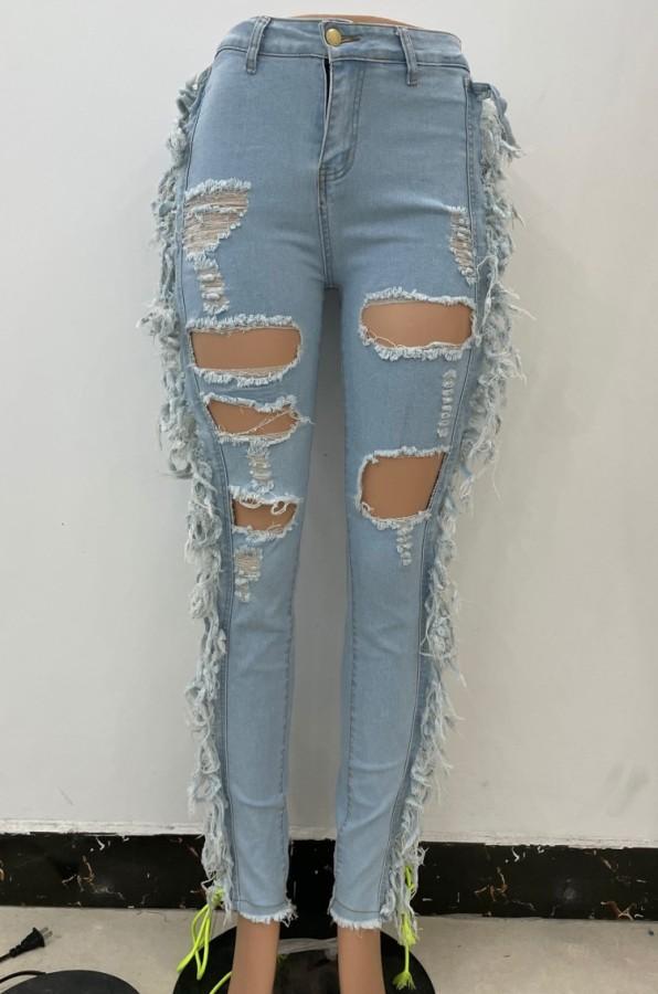 Herbst Hellblaue Quaste Zerrissene Aushöhlen Midi Waist Jeans