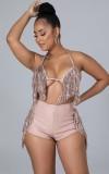 Sommer Sexy Pink Quasten BH und passende Shorts Set