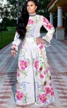 Set di pantaloni larghi a vita alta e top con maniche svasate con scollo midi floreale bianco autunno