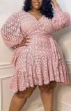Sommer Plus Size Pink Puffärmel Wickelminikleid mit Gürtel