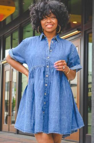 Summer Turndown Collar Button Up Shoulder Sleeve Denim Casual Dress