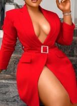 Vestido blazer de manga larga rojo otoño con cinturón