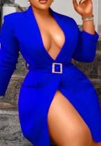 Vestido blazer de manga larga azul otoño con cinturón