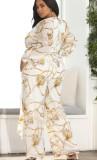 Herbst Plus Size Chain Puff Sleeve Wrap Loose Jumpsuit mit Gürtel