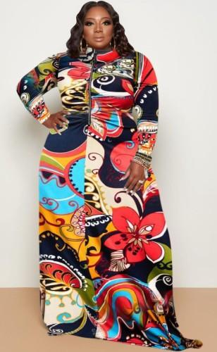 Herfst plus size bloemenprint lange mouw hoge hals maxi-jurk
