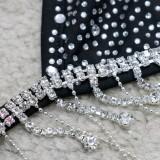 Sommer Sexy Schwarzer Perlen-Quasten-BH und passendes Höschen-Set