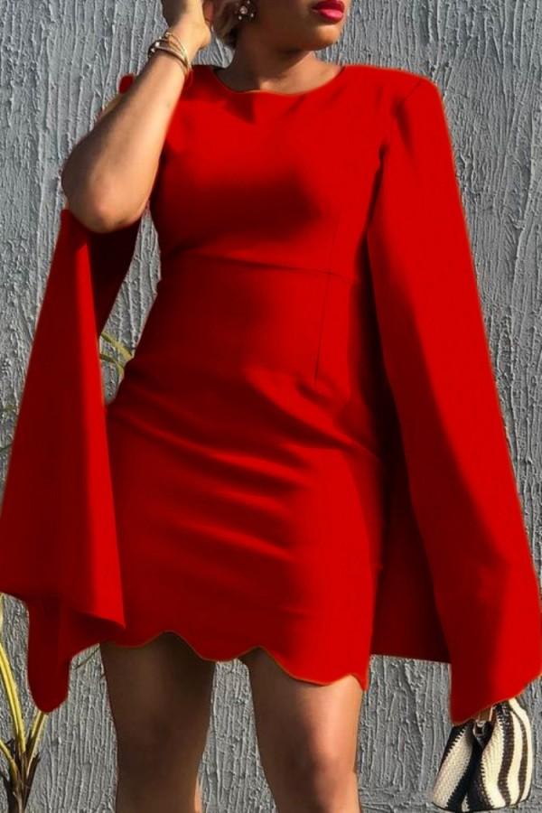 Herbst Elegantes Rotes Rundhals-Mantel-Bürokleid mit Wellensaum