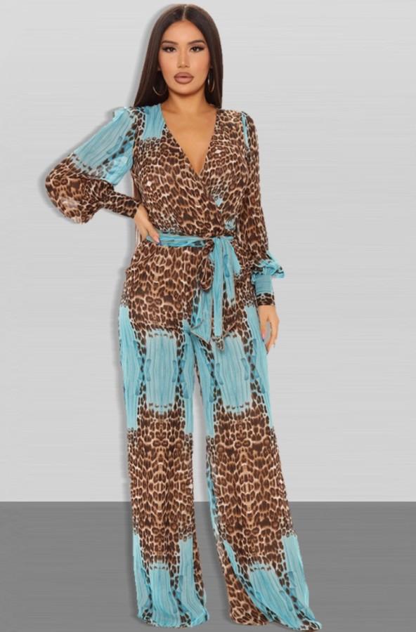 Herbst-Leoparden-Print-Puffärmel-Wrap-loser Jumpsuit mit Gürtel