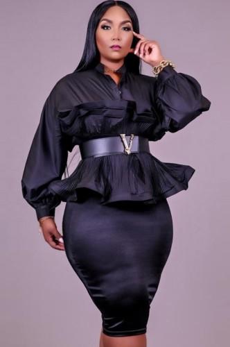 Herfst Plus maat zwarte peplum blouse met pofmouw en kokerrok set zonder riem