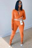 Herbst Orange Crop Top und Hose 2-teiliger Trainingsanzug