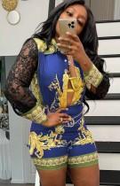 Herfst Lace Patch Sleeve Print Retro Blouse en Shorts Bijpassende Set