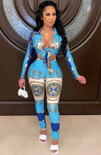 Herfst print blauwe retro blouse en broek set