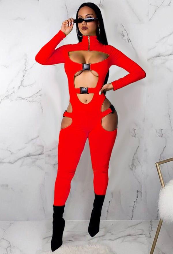 Herbst Sexy Roter Bodycon Jumpsuit mit Ausschnitten und Rollkragen