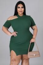 Herbst Plus Size Grünes, geripptes, figurbetontes Kleid mit Cut-Outs