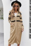 Herbst Casual Khaki Stripes Long Cardigans mit Taschen