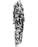 Herbst Casual Print Schwarz Elegante Bluse und Hose mit Gürtel