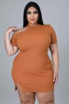 Herbst Übergröße Orange geripptes, figurbetontes Kleid mit Cut-Outs
