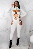 Herbst Sexy Weißer Rollkragen Bodycon Jumpsuit mit Cut-Outs