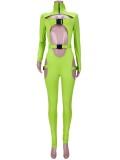 Herbst Sexy Grüner Bodycon Jumpsuit mit Ausschnitten und Rollkragen