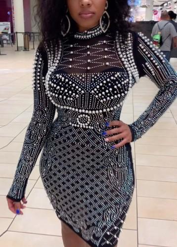 Herfst Plus-maat Black Diamond bodycon-jurk met lange mouwen