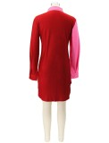 Herbst Casual Color Block High Low Langarmbluse