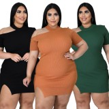 Herbst Plus Size Schwarzes, geripptes, figurbetontes Kleid mit Cut-Outs