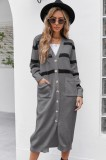 Herbst Casual Graue Streifen Lange Strickjacken mit Taschen