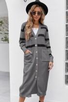 Cárdigans largos casuales de rayas grises de otoño con bolsillos