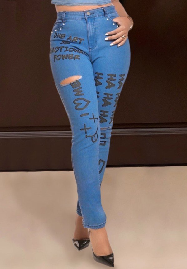 Blaue, figurbetonte, zerrissene Jeans mit hohem Bund im Herbst-Print