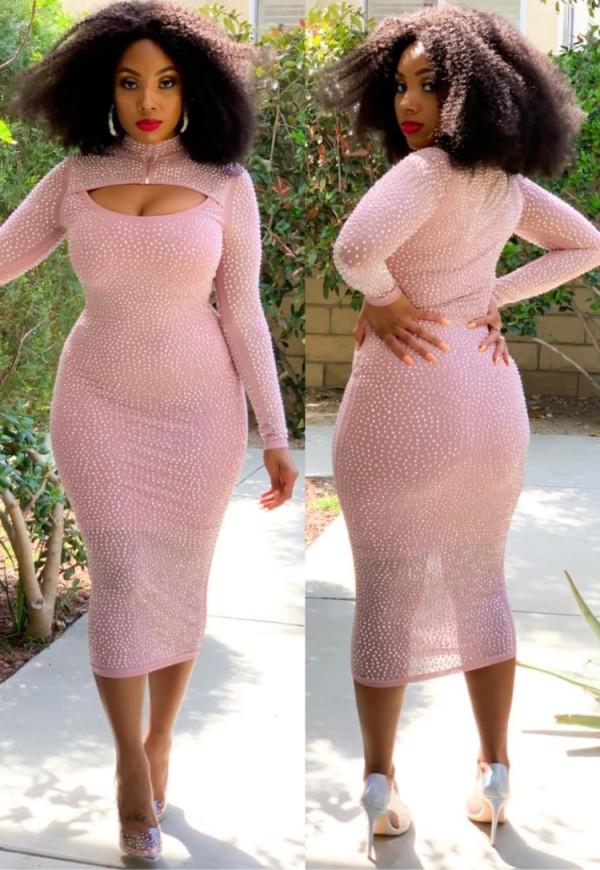 Herbst Plus Size Midi-Bodycon-Kleid mit Perlen und Cut-Outs in Rosa