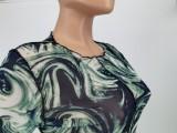 Herbst Print Grün Sexy Durchsichtiges Midi Bodycon Kleid