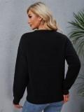 Schwarzes Pullover-Pullover-Oberteil mit O-Ausschnitt im Herbst-Print