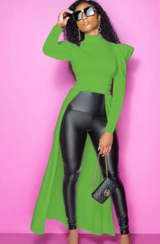 Fall Women Green High Low Formal Top