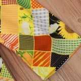 Kinder Mädchen Herbst Print Gelbes Zweiteiler Hosen Set