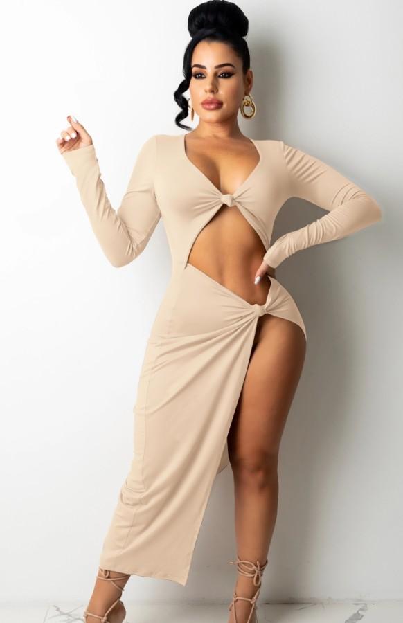 Herbst Frauen Beige Sexy Cut Out Schlitz Langes Partykleid