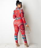 Set aus roter Retro-Bluse und Hose mit Herbst-Print