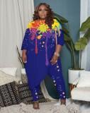 Herbst Plus Size Damen malt unregelmäßiges Hemd und Hose Set