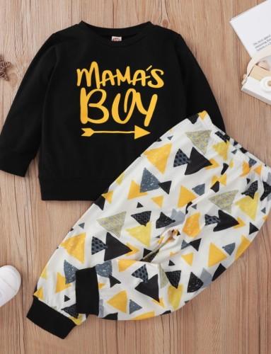 Kids Boy Fall Print Two Piece Pants Set