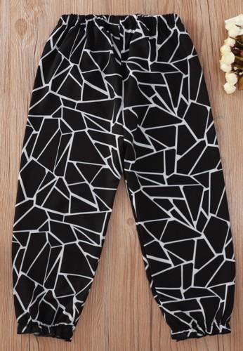 Kids Girl Fall Print Black Casual Pants
