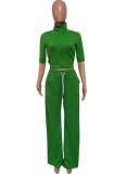 Herbst Frauen Casual Grün Kurzarm Trainingsanzug