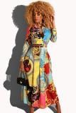 Herbst Frauen Print Retro Plissee Elegantes Langes Kleid