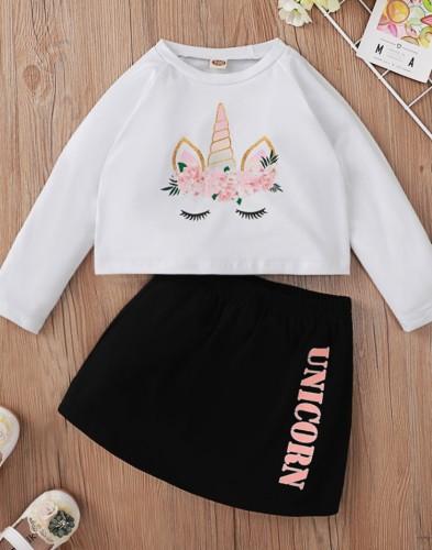 Kids Girl Fall Print Two Piece Mini Skirt Set