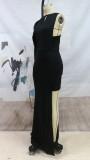 Herbst Frauen gelegentliches schwarzes unregelmäßiges Abendkleid mit einzelnen Ärmeln
