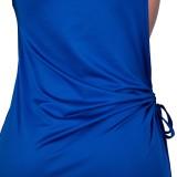 Sommer Frauen einfarbig schlichtes ärmelloses langes Kleid mit seitlichem Schlitz