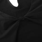 Herbst Frauen Schwarz Sexy Cut Out Schlitz Langes Partykleid