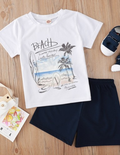 Kids Boy Summer Print Two Piece Shorts Set